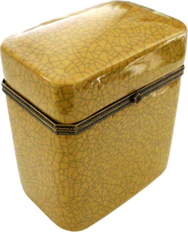 CAIXA ALTA OLD YELLOW OCTAGONAL COM BRONZE  - DECORASIA - Importadora de móveis e objetos