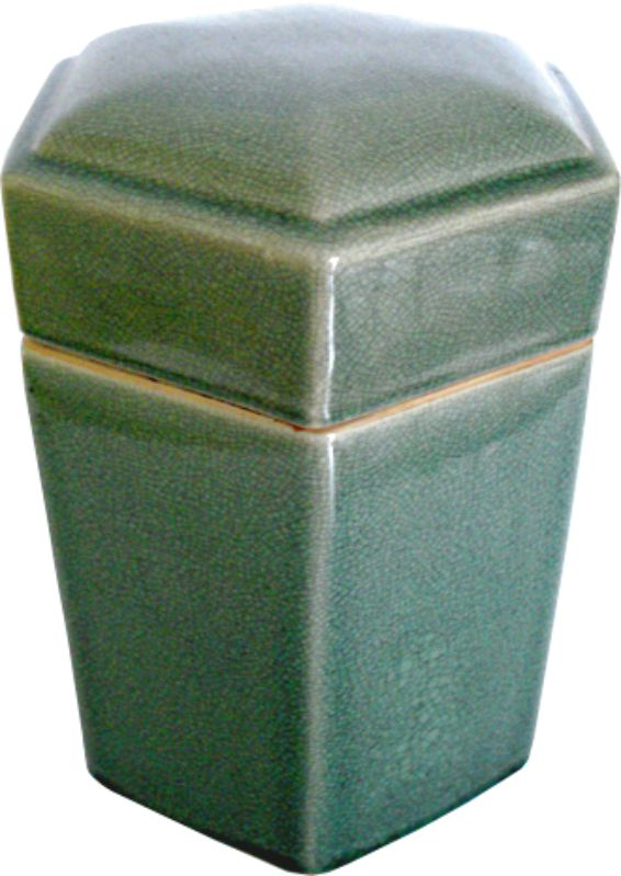 CAIXA OLD GREEN HEXAGONAL  - DECORASIA - Importadora de móveis e objetos