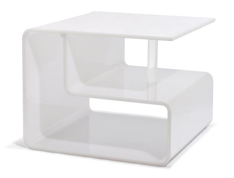MESA LATERAL DE ACRÍLICO BRANCO  - DECORASIA - Importadora de móveis e objetos
