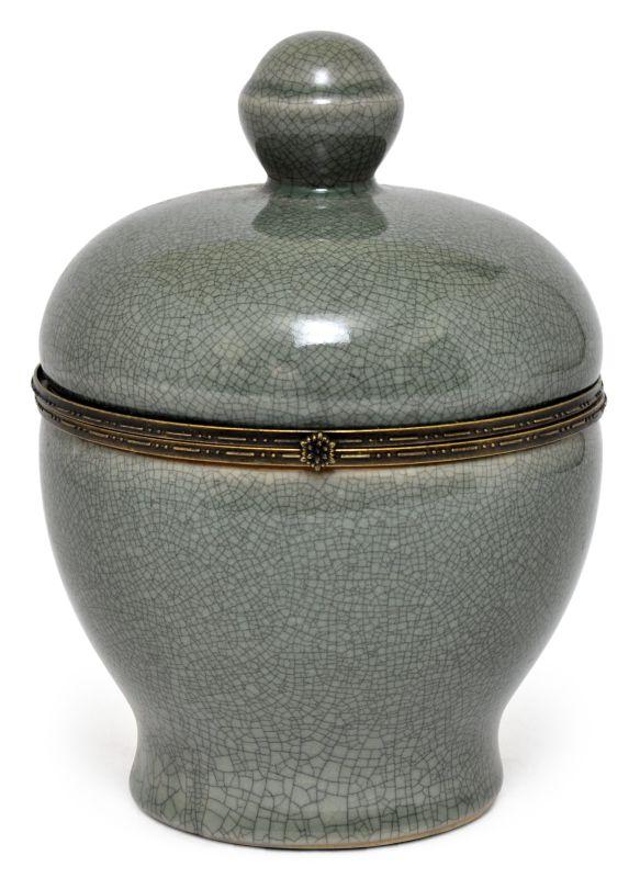 MINI POTICHE OLD GREEN COM BRONZE  - DECORASIA - Importadora de móveis e objetos