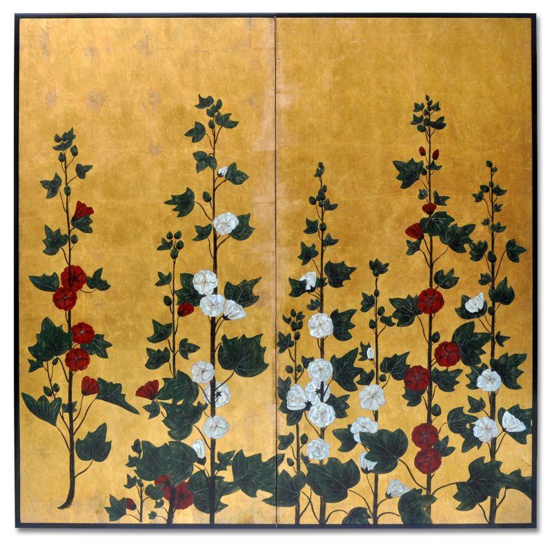 PAINEL CHINÊS ESTAMPA FLOWERS GOLDEN LEAF PINTADO A MÃO  - DECORASIA - Importadora de móveis e objetos