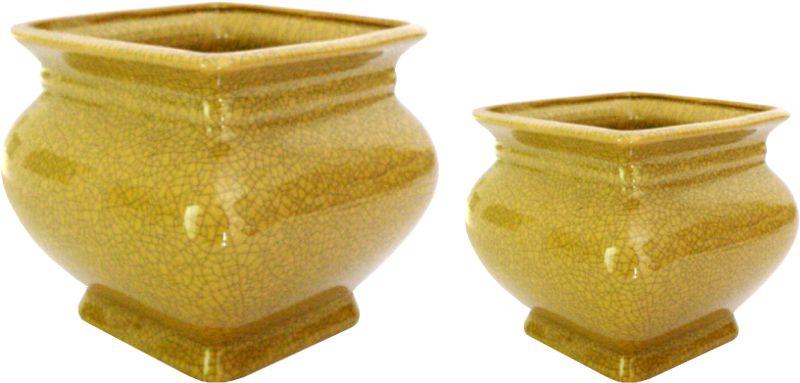 VASO CACHEPOT QUAD OLD YELLOW  - DECORASIA - Importadora de móveis e objetos