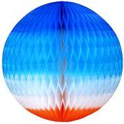 GLOBO 130mm (13cm) Tons de Azul c/ Laranja  Balão bola pompom de papel seda festa junina festa são joão ideia de decorações bolas de papel em brasilia minas gerais GiroToy Enfeites