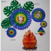 Kit decoração Festa Junina - Balão Oriental , Fioratas c/ encarte , Fogueira e costela de Adão