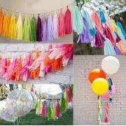 Varal de Franja Tassel com 21 Pompons   2m de comprimento cordão - Cliente define a cor dos 21 pompons - define a ordem que deseja as cores GiroToy Enfeites