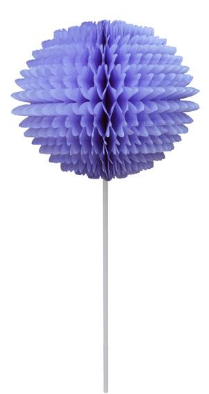 BOLA POM POM 130mm com HASTE Lilás Pompom de papel seda colmeia GiroToy Enfeites fazemos cores personalizadas