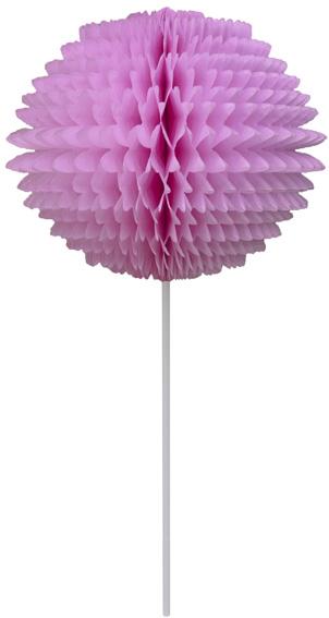 BOLA POM POM 130mm com HASTE Rosa Claro Pompom de papel seda colmeia GiroToy Enfeites fazemos cores personalizadas
