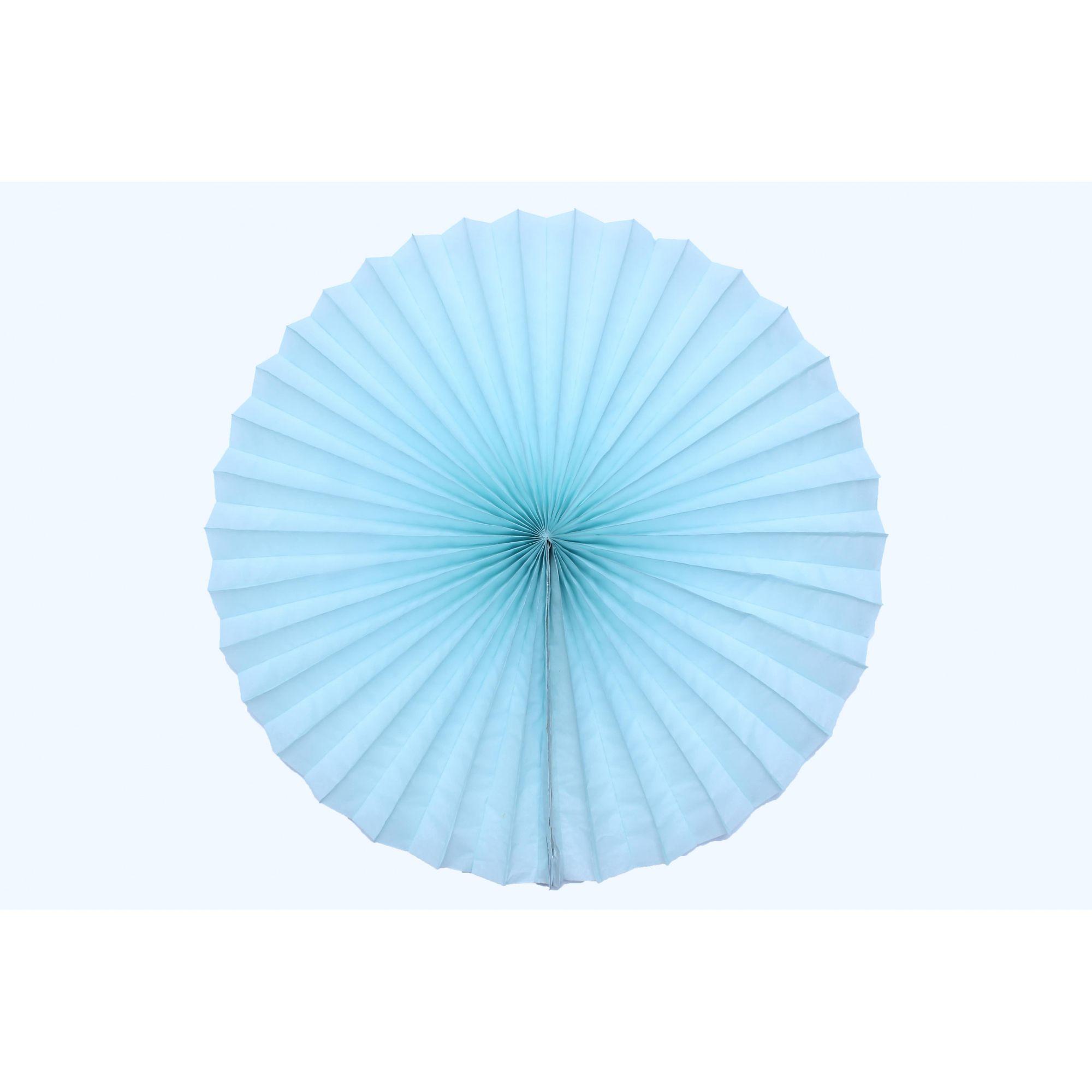 Enfeite de Papel de seda Fiorata, Roseta, Leque de Papel  Azul Claro - GiroToy