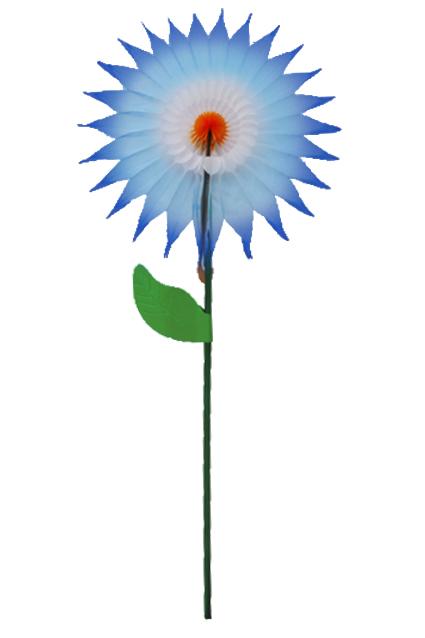 Enfeite GIRASSOL 15cm Tons de Azul c/ Laranja centro de mesa decoração primavera vitrine lojas GiroToy