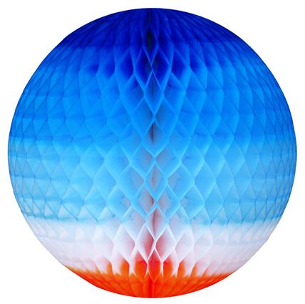GLOBO 340mm (34cm) Tons de Azul c/ Laranja Balão bola pompom de papel seda festa junina festa são joão ideia de decorações bolas de papel em brasilia Artigos para festas cuiaba GiroToy