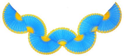 GUIRLANDA 870mm (87cm) Turquesa c/ Amarelo Guirlanda de papel seda cores personalizadas guirlanda de papel em são paulo montes claros brasilia bh minas gerais - GiroToy Enfeites em Colmeia de Papel