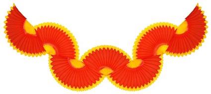 GUIRLANDA 870mm (87cm) Vermelho c/ Amarelo Guirlanda de papel seda cores personalizadas guirlanda de papel em são paulo montes claros brasilia bh minas gerais - GiroToy Enfeites em Colmeia de Papel