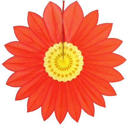 Enfeite de Papel de Seda - Margarida Primavera - Fiorata - Vermelho c/ Amarelo Decoração festa Primavera flores GiroToy
