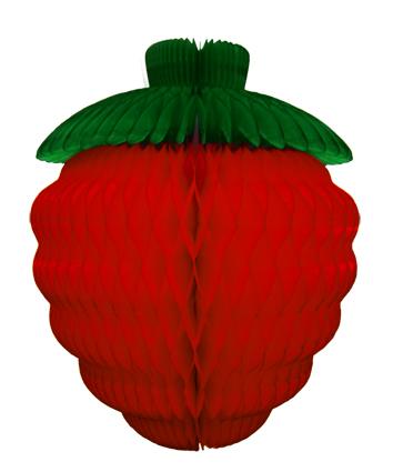 Enfeite MORANGO 18cm Festa Havaiana decoração festa havai ideia de decoração frutas decorativas de papel seda festa aloha praia piscina luau GiroToy Enfeites