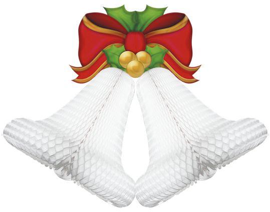 Enfeite de Papel Sino Duplo Branco Decoração igreja batizado final de ano decoração reveillon natal batismo GiroToy Enfeites em papel seda