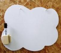 Lousa branca em forma de nuvem