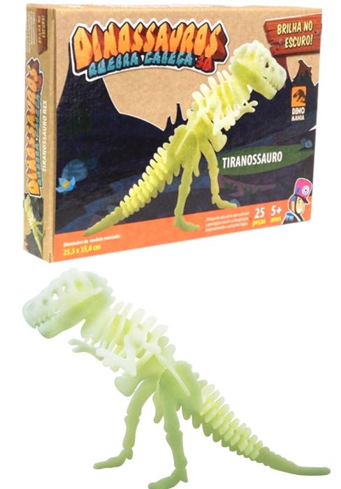 Quebra-cabeça 3D que brilha no escuro - Tiranossauro Rex