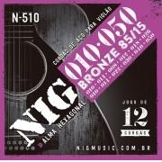 Encordoamento Nig N-510 Bronze 010 P/ Violão 12 Cordas