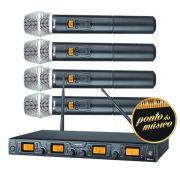 Sistema De Microfone Quadruplo Sem Fio Staner SRW48Q Uhf Digital
