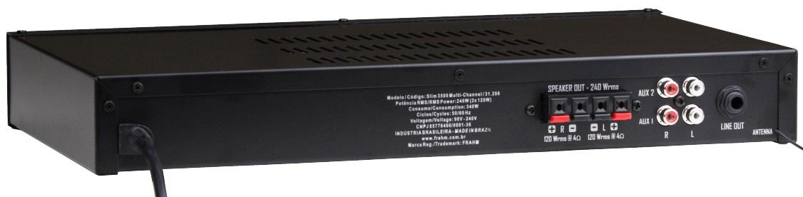 Amplificador Frahm Slim 3500 Usb 200W RMS C/ Controle