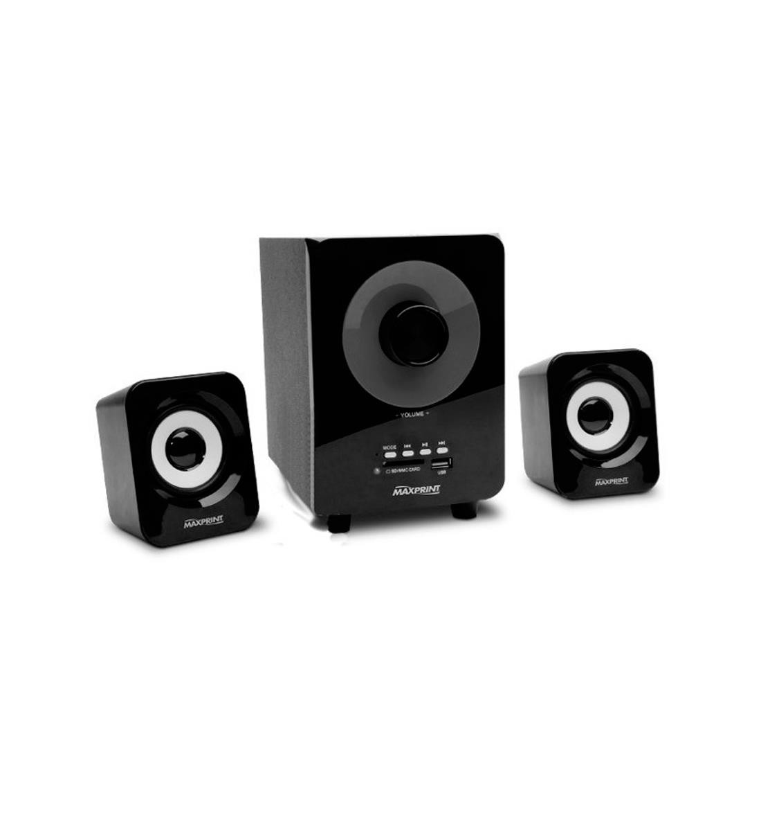 Caixa de Som Maxprint Max Sound Subwoofer 2.1 USB Leitor de Cartao de Memoria 14W RMS