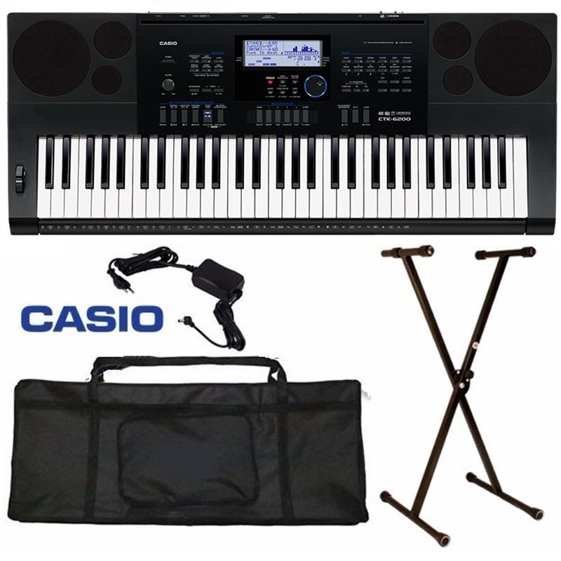 Kit Teclado Casio Ctk6200 Usb + Suporte / Capa / Fonte