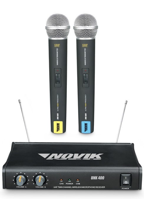 Microfone S/ Fio De Mão Duplo Novik Unk400 Uhf