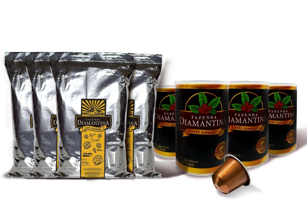 4 pcts  Moído Tradicional + 40 cápsulas de 5g tipo Nespresso®