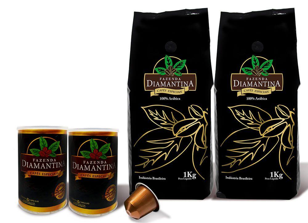 2 pcts de 1KG em Grão + 20 cápsulas de 5g tipo Nespresso®