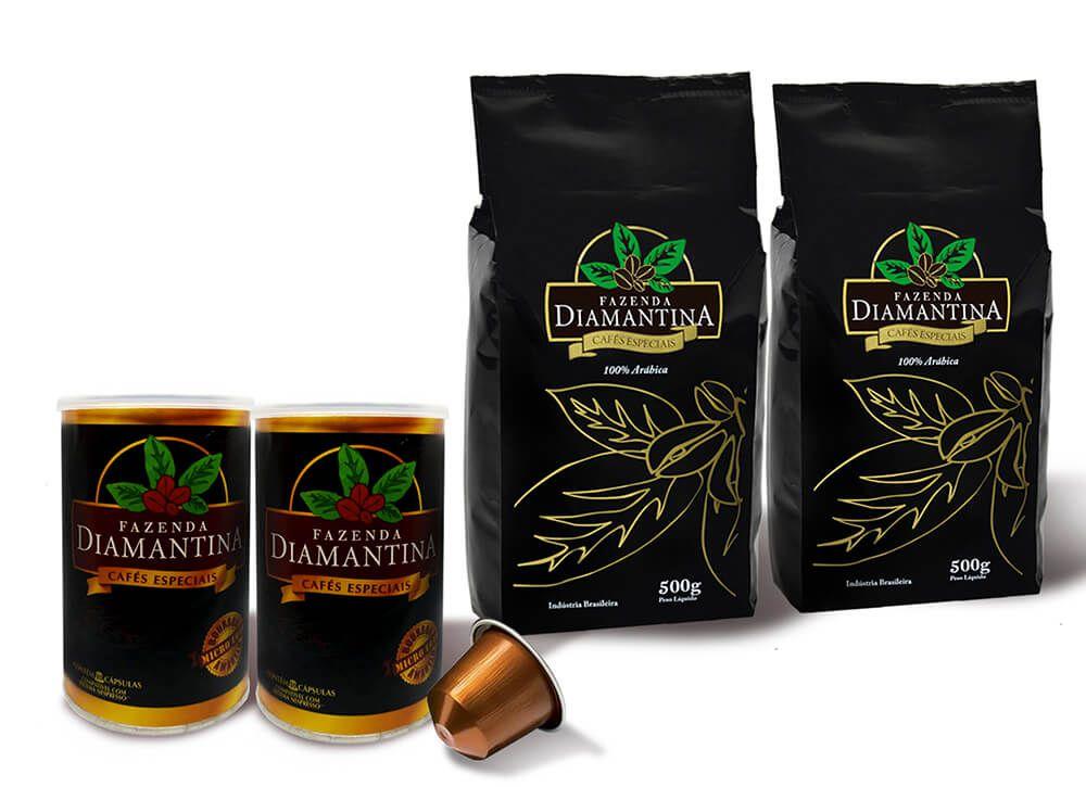 2 pcts de 500G  Moído + 20 cápsulas de 5g tipo Nespresso®