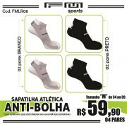 COMBO MEIA ATLÉTICA ANTI-BOLHA BRANCO-PRETO X4 M
