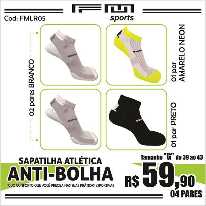 COMBO MEIA ATLÉTICA ANTI-BOLHA BRANCO-PRETO-AMA NEON X4 G