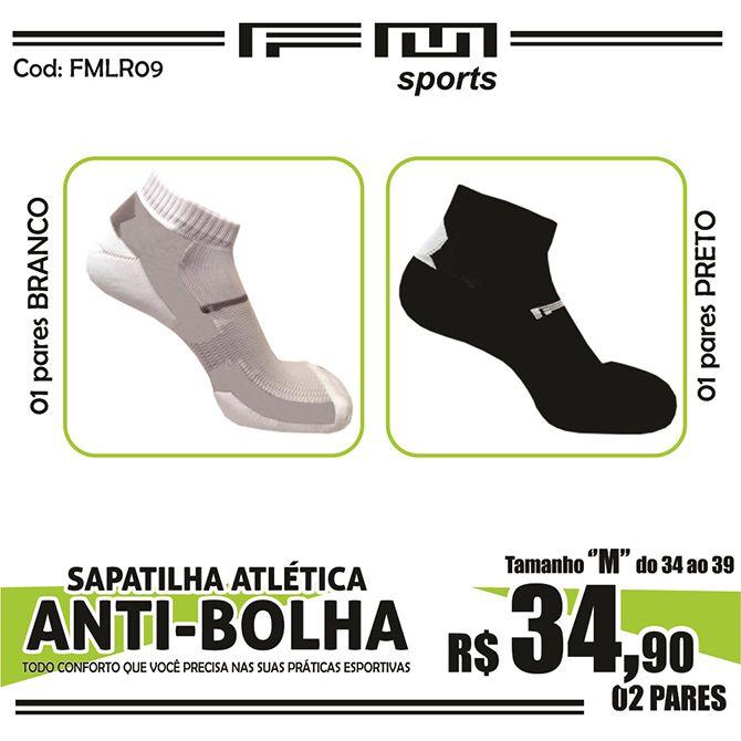 COMBO MEIA ATLÉTICA ANTI-BOLHA BRANCO-PRETO X2 M