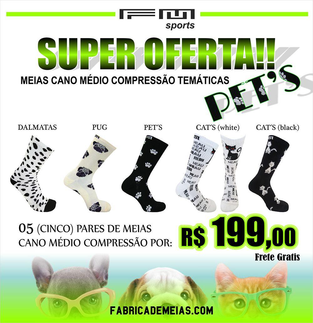 COMBO MEIAS CANO MÉDIO COMPRESSÃO TEMÁTICAS  PET'S
