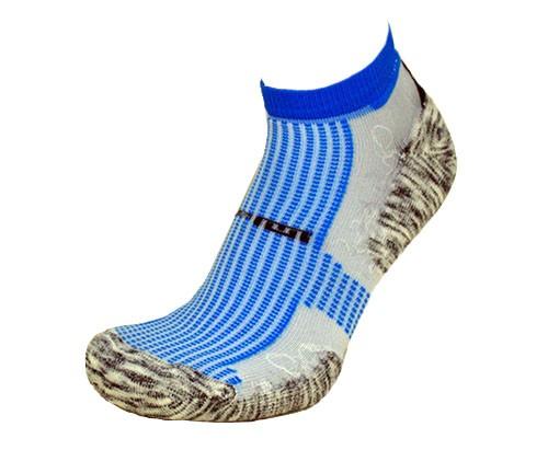Par de meia atlética  - Branca com listras Azul Turquesa e base flocada mescla