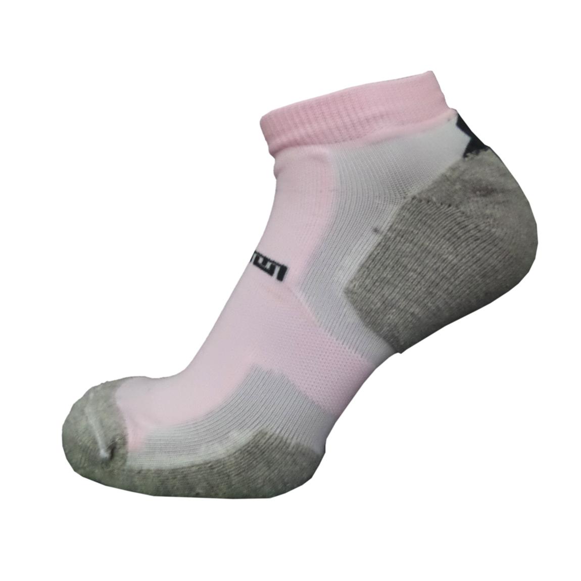 Par de meia atlética  - Branca com listras rosa bebê e mescla