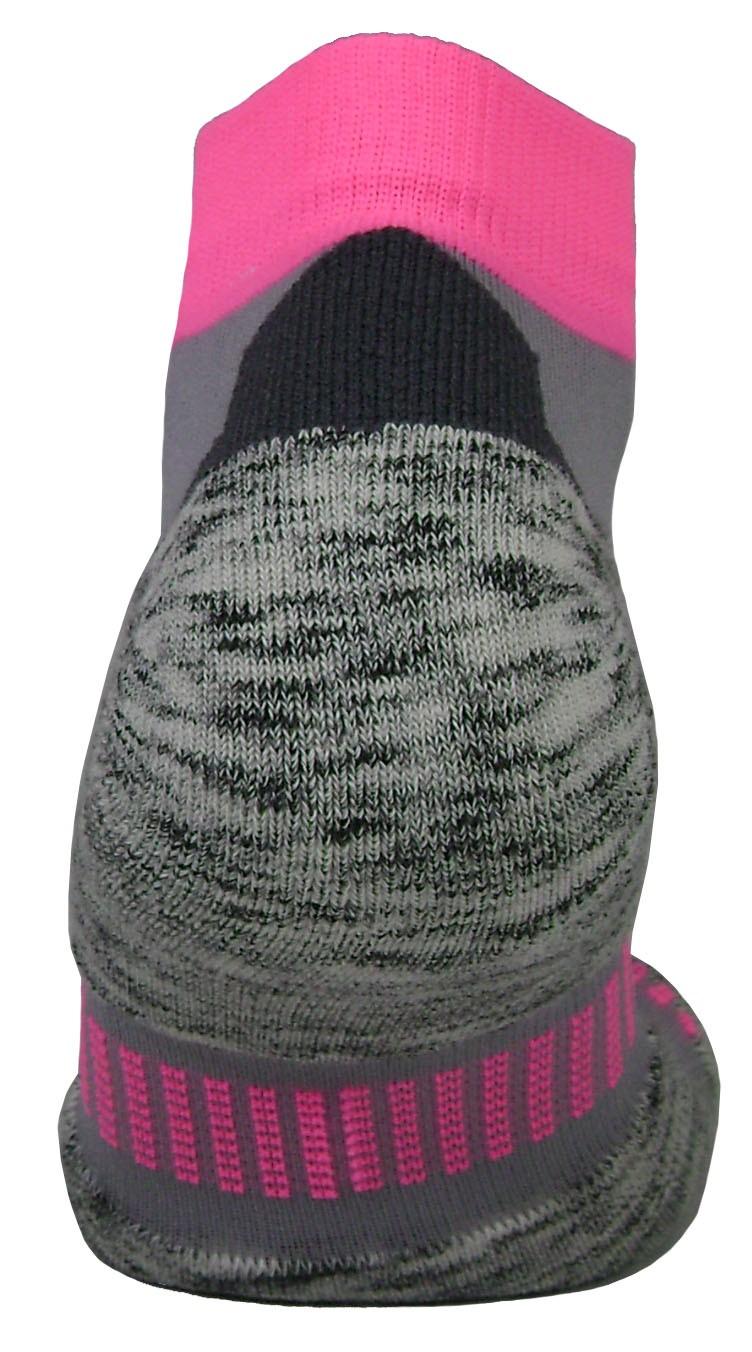 Par de meia atlética  - Flocada com rosa neon