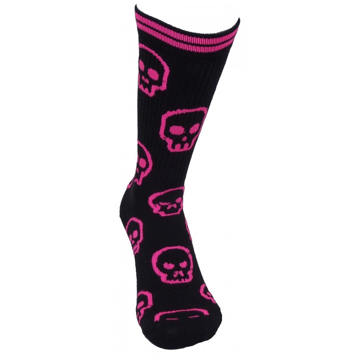 Par de meia cano médio fashion - Caveiras rosa