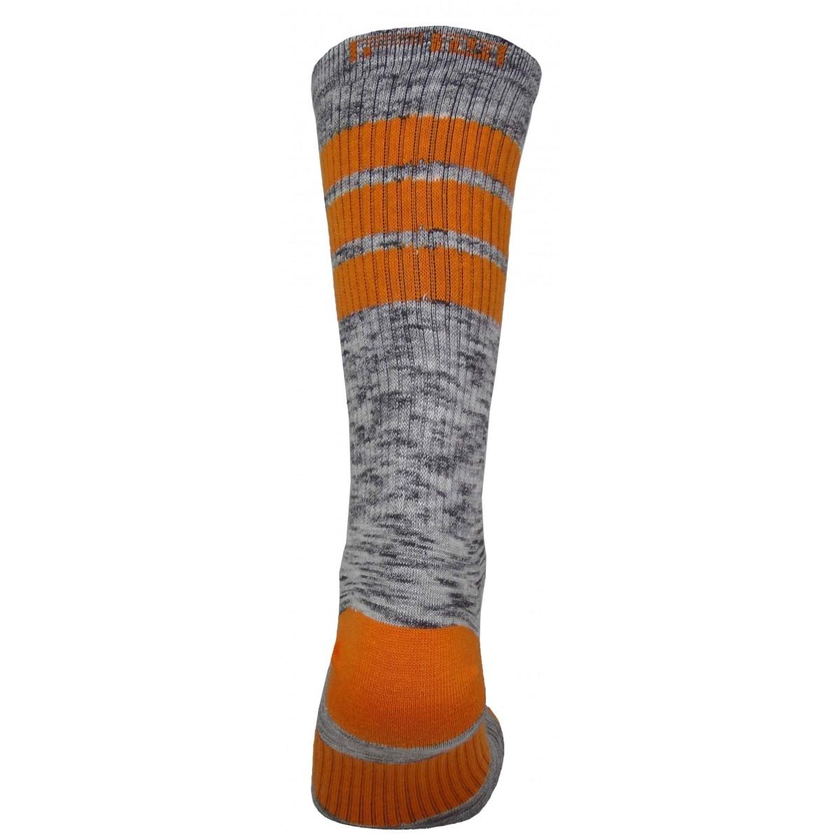 Par de meia cano médio fashion - Flocada colorida laranja