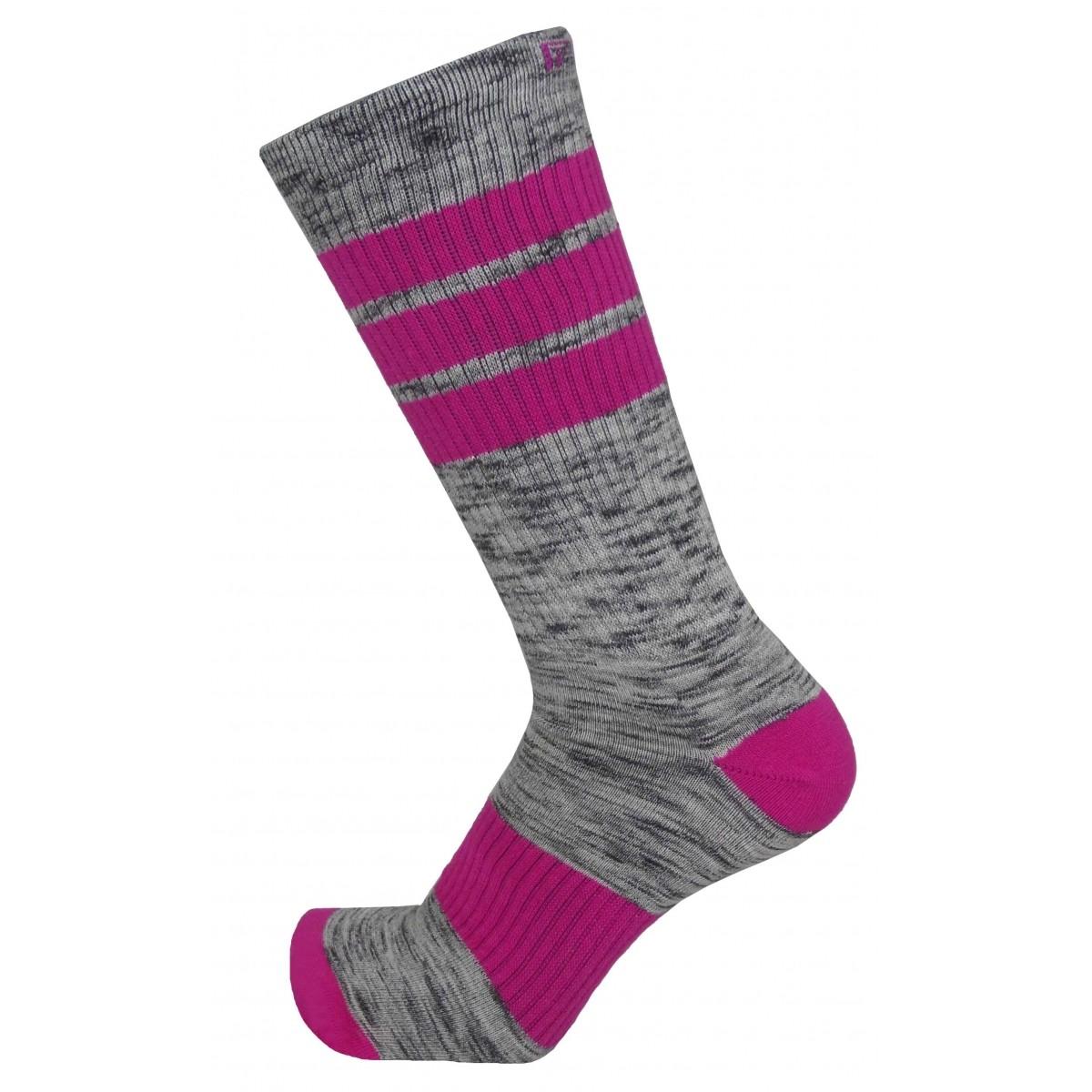 Par de meia cano médio fashion - Flocada colorida rosa