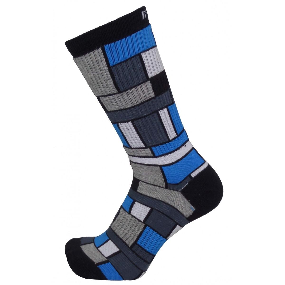 Par de meia cano médio fashion - Quadriculada azul