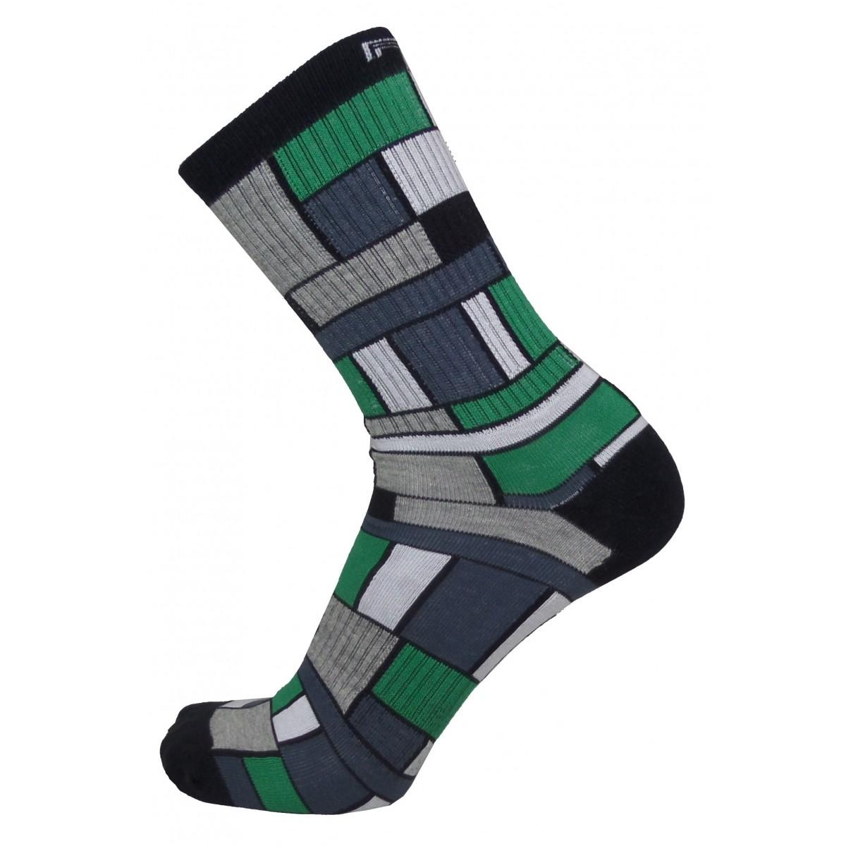 Par de meia cano médio fashion - Quadriculada verde