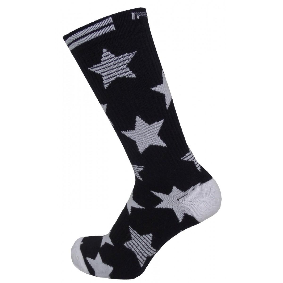 Par de meia cano médio fashion - Superstar preto e branco
