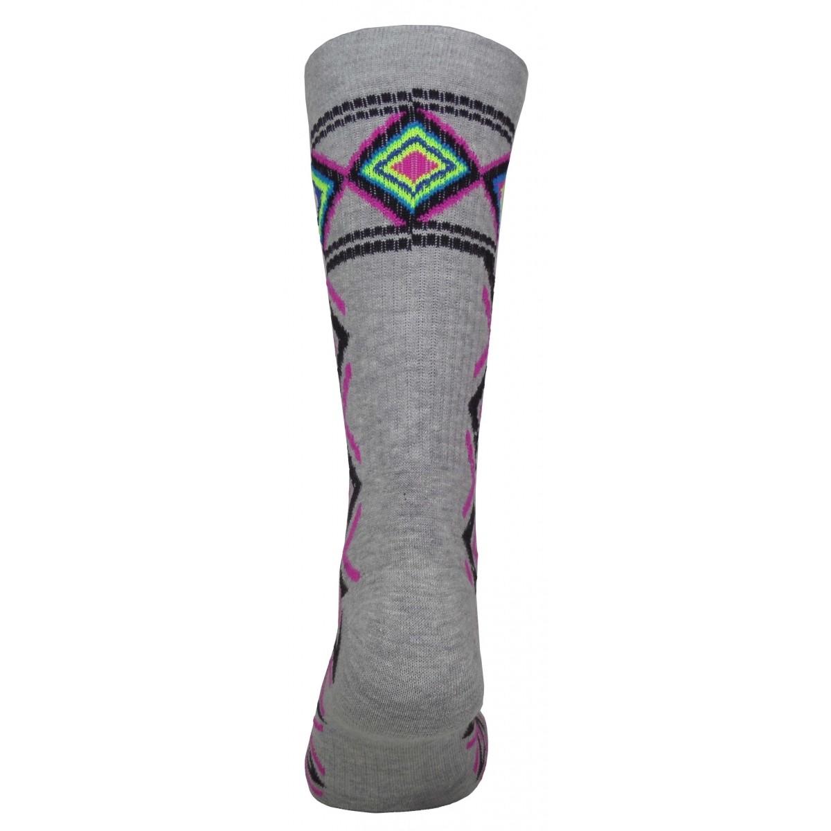 Par de meia cano médio fashion - Tribal mescla com rosa
