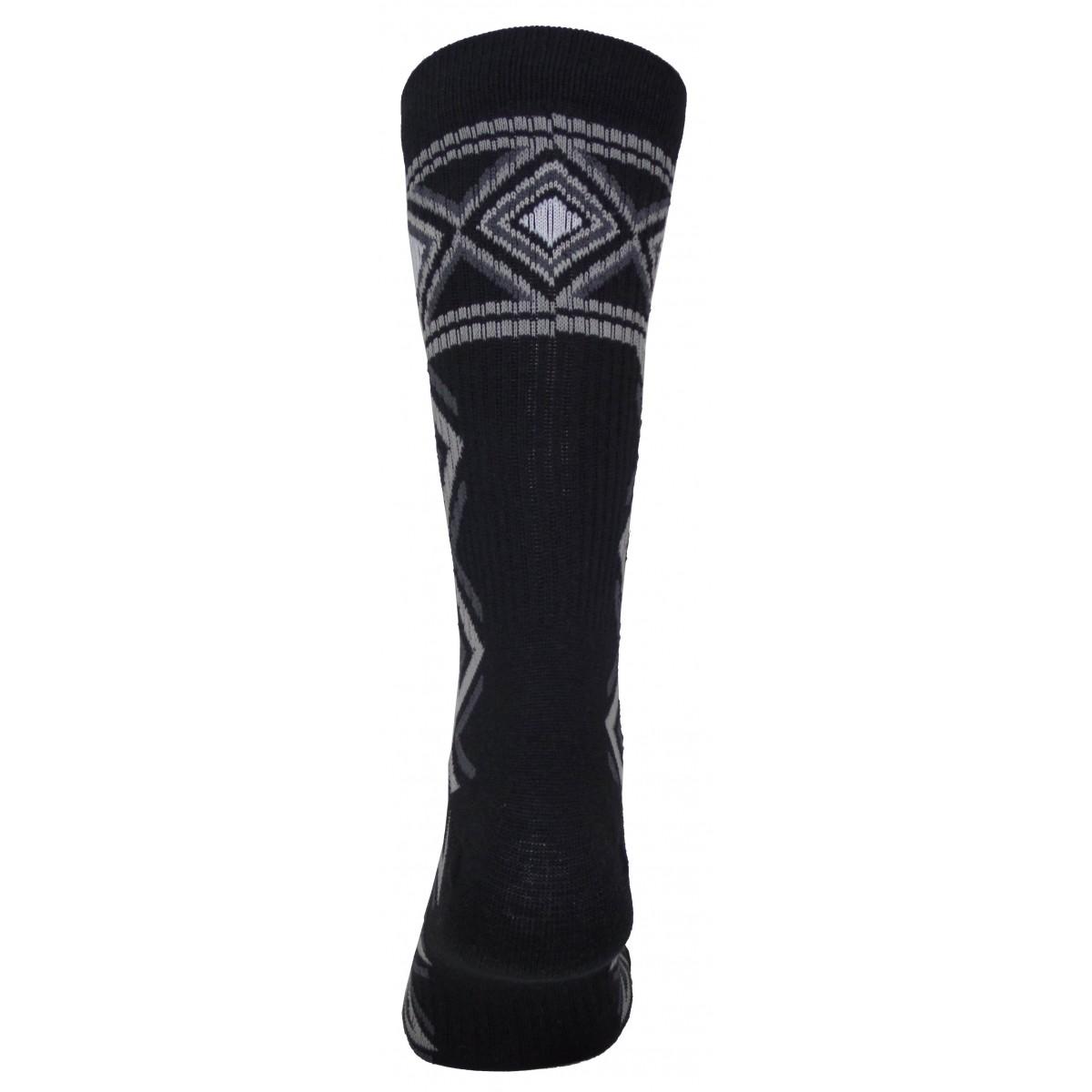 Par de meia cano médio fashion - Tribal preto com cinza