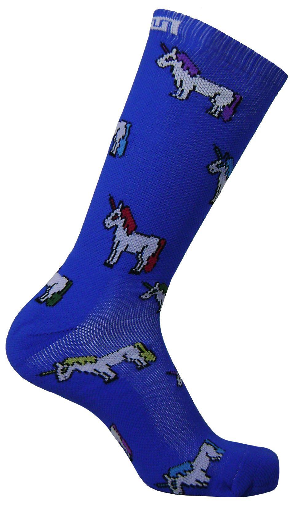 Par de meia cano médio fashion - Unicórnios Azul Royal