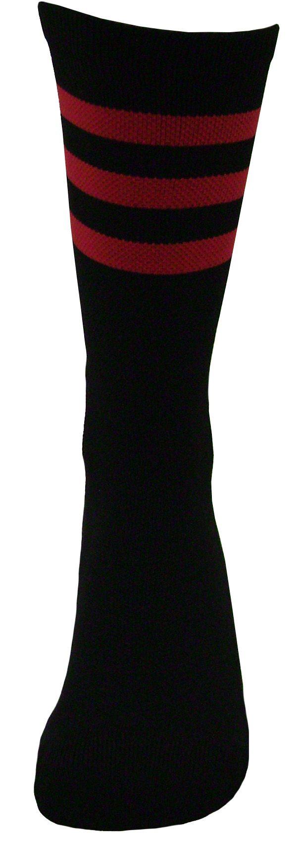 Par de meia Compressão cano médio  - 3 listras preto com vermelho