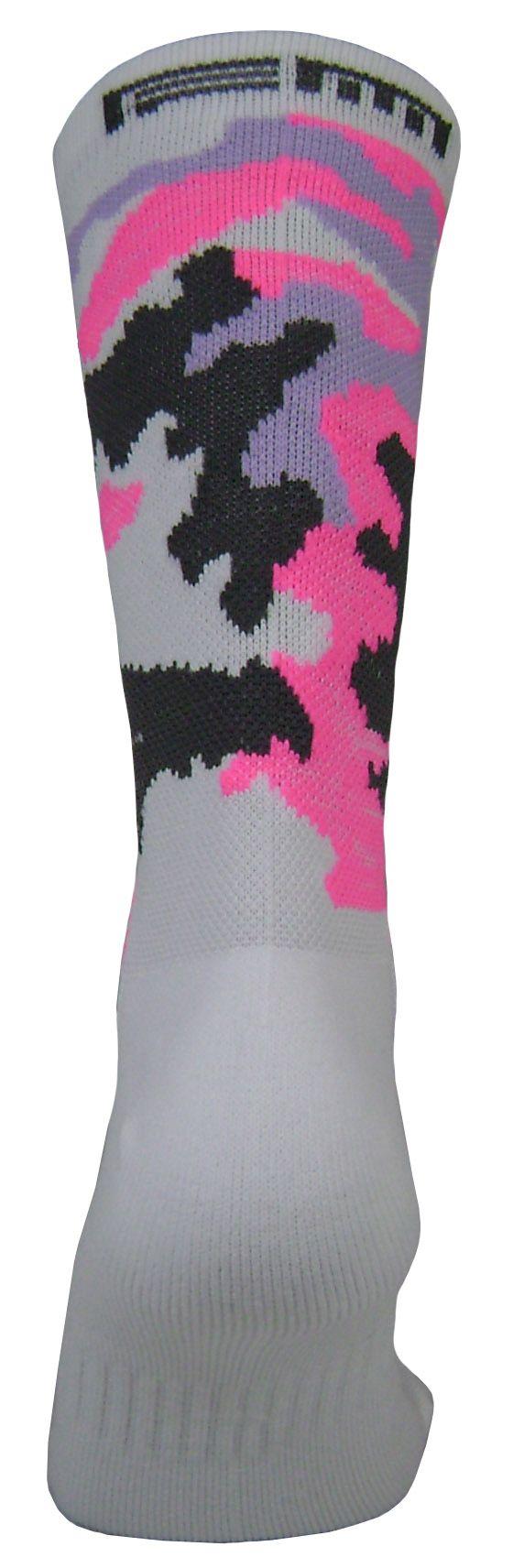 Par de meia Compressão cano médio  - Camuflado rosa neon