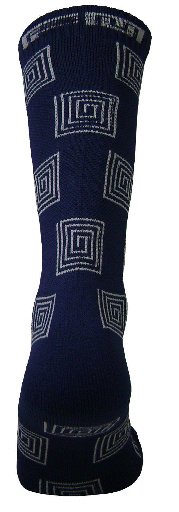 Par de meia Compressão cano médio - Espiral azul com cinza