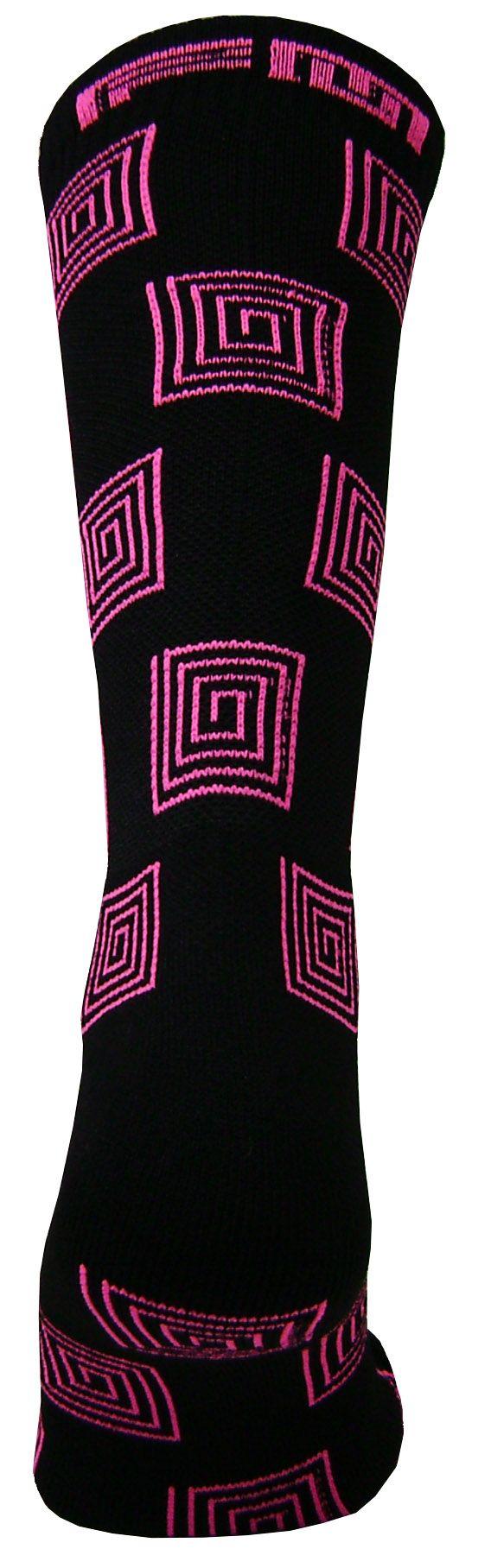Par de meia Compressão cano médio  - Espiral preto com rosa